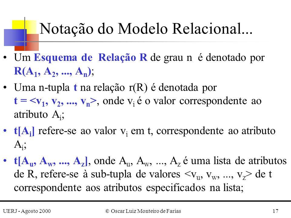 UERJ - Agosto 2000© Oscar Luiz Monteiro de Farias17 Notação do Modelo Relacional... Um Esquema de Relação R de grau n é denotado por R(A 1, A 2,..., A