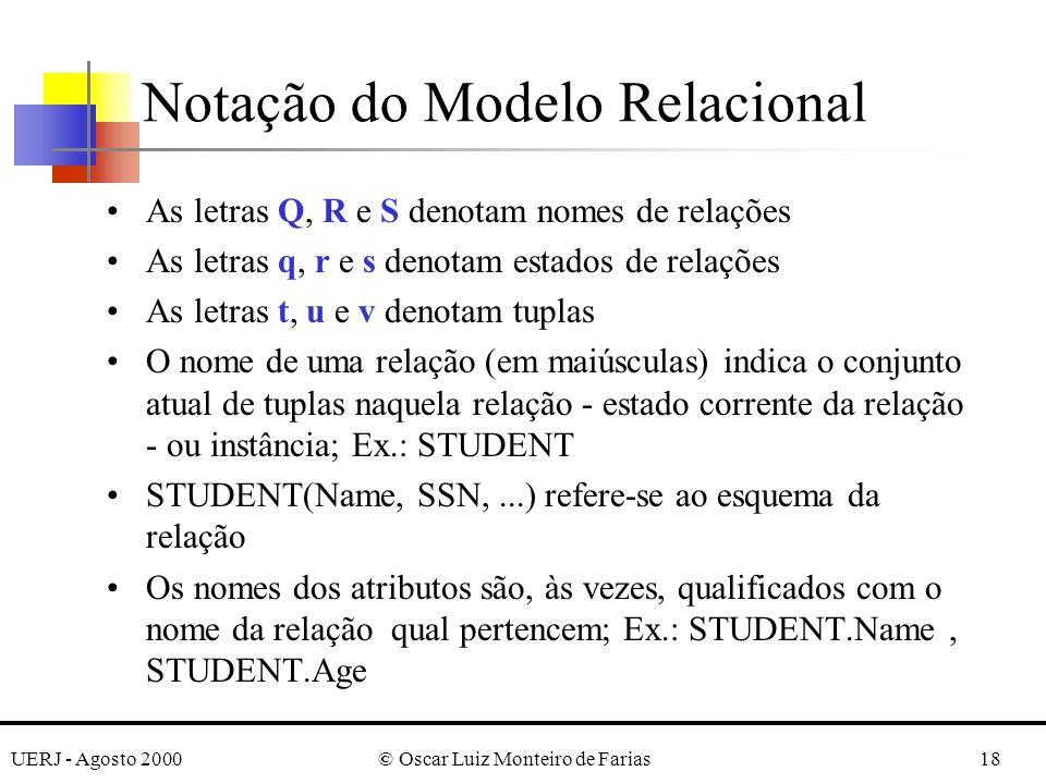 UERJ - Agosto 2000© Oscar Luiz Monteiro de Farias18 As letras Q, R e S denotam nomes de relações As letras q, r e s denotam estados de relações As let