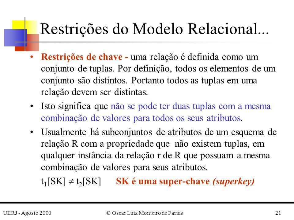 UERJ - Agosto 2000© Oscar Luiz Monteiro de Farias21 Restrições de chave - uma relação é definida como um conjunto de tuplas. Por definição, todos os e