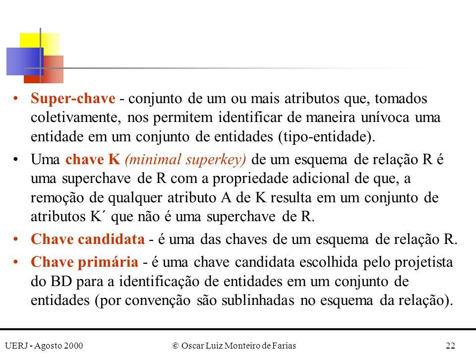 UERJ - Agosto 2000© Oscar Luiz Monteiro de Farias22 Super-chave - conjunto de um ou mais atributos que, tomados coletivamente, nos permitem identifica