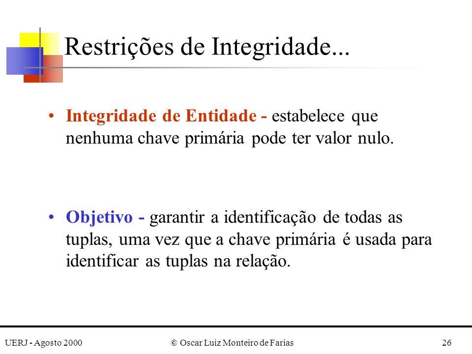 UERJ - Agosto 2000© Oscar Luiz Monteiro de Farias26 Restrições de Integridade... Integridade de Entidade - estabelece que nenhuma chave primária pode
