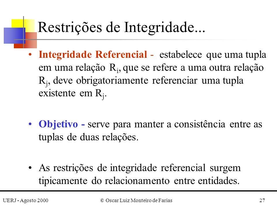 UERJ - Agosto 2000© Oscar Luiz Monteiro de Farias27 Integridade Referencial - estabelece que uma tupla em uma relação R i, que se refere a uma outra r
