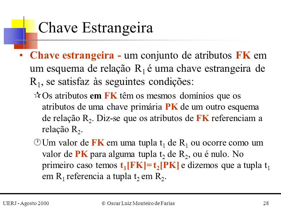 UERJ - Agosto 2000© Oscar Luiz Monteiro de Farias28 Chave Estrangeira Chave estrangeira - um conjunto de atributos FK em um esquema de relação R 1 é u
