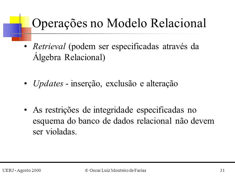 UERJ - Agosto 2000© Oscar Luiz Monteiro de Farias31 Operações no Modelo Relacional Retrieval (podem ser especificadas através da Álgebra Relacional) U