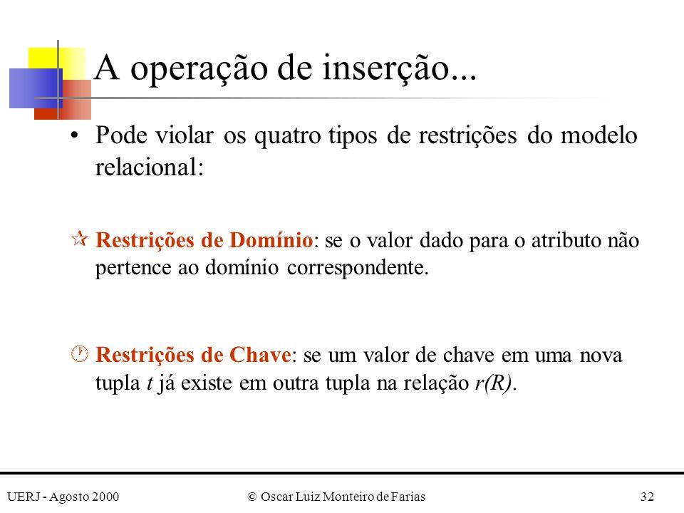 UERJ - Agosto 2000© Oscar Luiz Monteiro de Farias32 A operação de inserção... Pode violar os quatro tipos de restrições do modelo relacional: ¶Restriç