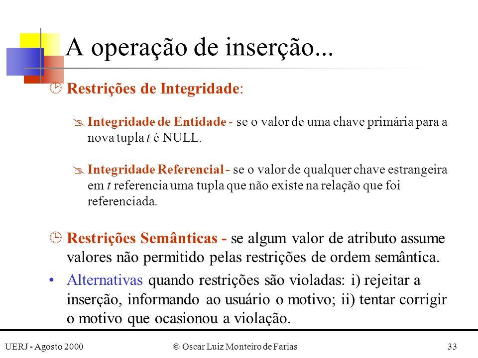 UERJ - Agosto 2000© Oscar Luiz Monteiro de Farias33 ¸Restrições de Integridade: @Integridade de Entidade - se o valor de uma chave primária para a nov