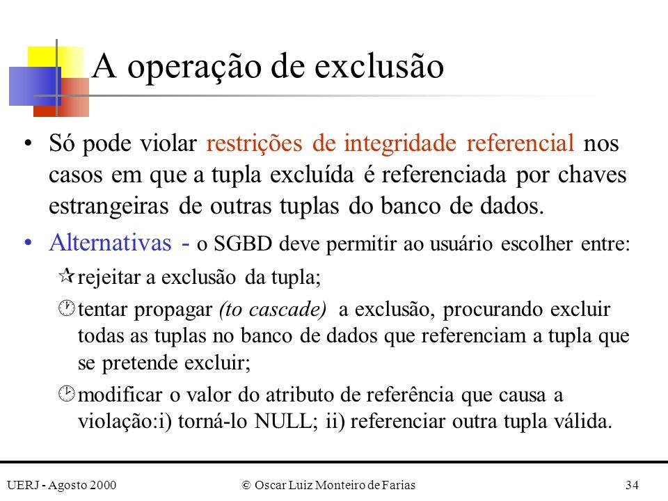 UERJ - Agosto 2000© Oscar Luiz Monteiro de Farias34 A operação de exclusão Só pode violar restrições de integridade referencial nos casos em que a tup