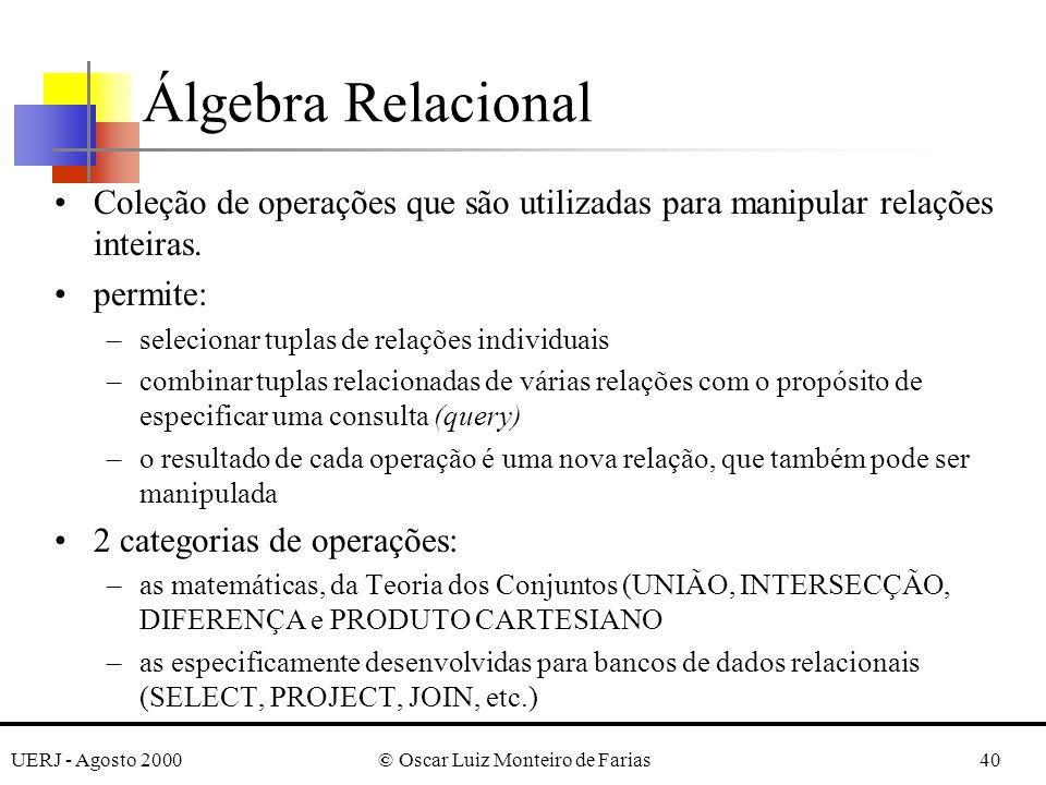 UERJ - Agosto 2000© Oscar Luiz Monteiro de Farias40 Álgebra Relacional Coleção de operações que são utilizadas para manipular relações inteiras. permi