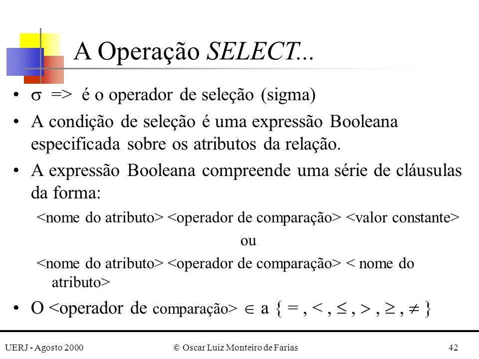 UERJ - Agosto 2000© Oscar Luiz Monteiro de Farias42 => é o operador de seleção (sigma) A condição de seleção é uma expressão Booleana especificada sob