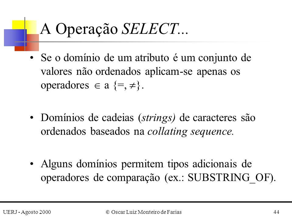 UERJ - Agosto 2000© Oscar Luiz Monteiro de Farias44 Se o domínio de um atributo é um conjunto de valores não ordenados aplicam-se apenas os operadores