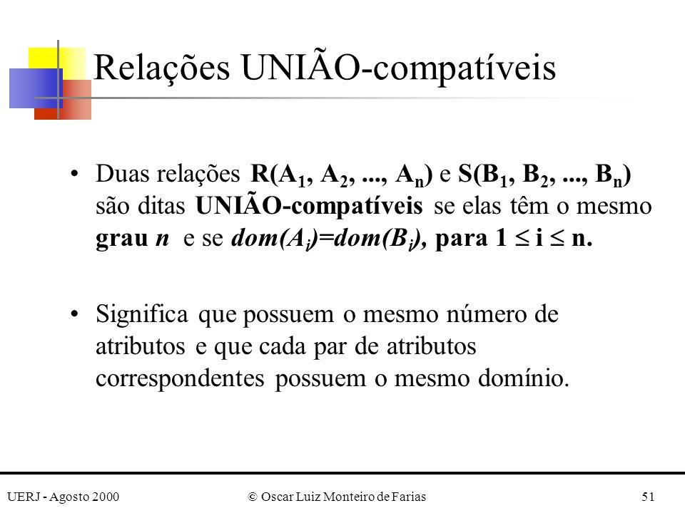 UERJ - Agosto 2000© Oscar Luiz Monteiro de Farias51 Relações UNIÃO-compatíveis Duas relações R(A 1, A 2,..., A n ) e S(B 1, B 2,..., B n ) são ditas U