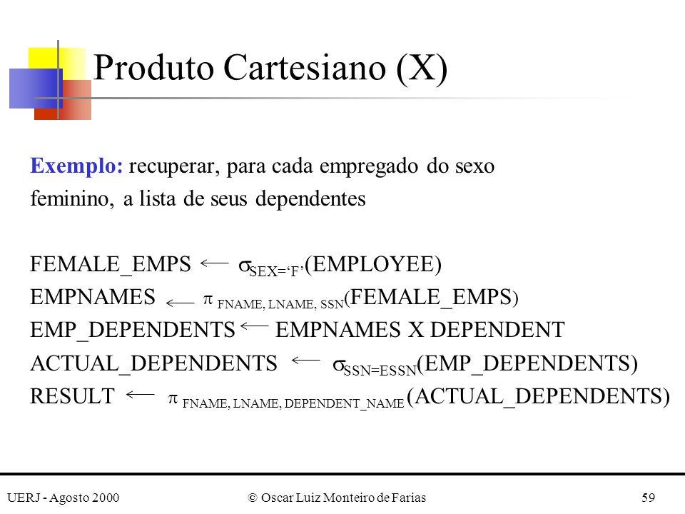 UERJ - Agosto 2000© Oscar Luiz Monteiro de Farias59 Exemplo: recuperar, para cada empregado do sexo feminino, a lista de seus dependentes FEMALE_EMPS
