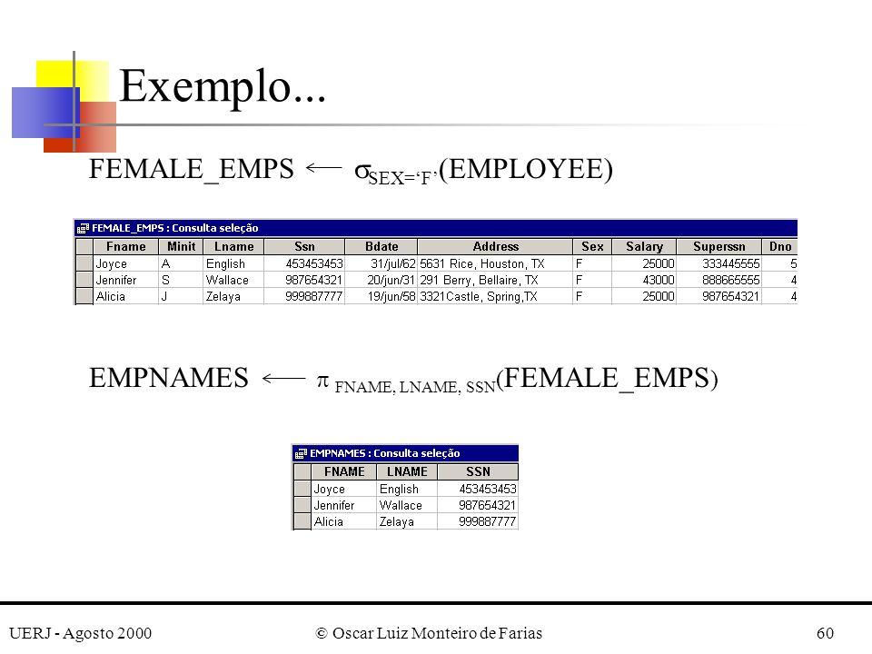 UERJ - Agosto 2000© Oscar Luiz Monteiro de Farias60 Exemplo... FEMALE_EMPS SEX=F (EMPLOYEE) EMPNAMES FNAME, LNAME, SSN ( FEMALE_EMPS )