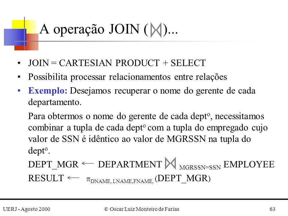 UERJ - Agosto 2000© Oscar Luiz Monteiro de Farias63 A operação JOIN ( )... JOIN = CARTESIAN PRODUCT + SELECT Possibilita processar relacionamentos ent