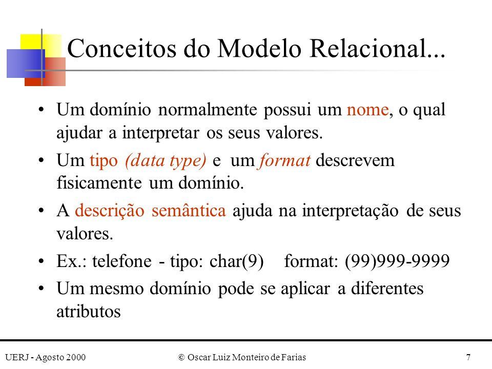 UERJ - Agosto 2000© Oscar Luiz Monteiro de Farias18 As letras Q, R e S denotam nomes de relações As letras q, r e s denotam estados de relações As letras t, u e v denotam tuplas O nome de uma relação (em maiúsculas) indica o conjunto atual de tuplas naquela relação - estado corrente da relação - ou instância; Ex.: STUDENT STUDENT(Name, SSN,...) refere-se ao esquema da relação Os nomes dos atributos são, às vezes, qualificados com o nome da relação qual pertencem; Ex.: STUDENT.Name, STUDENT.Age Notação do Modelo Relacional
