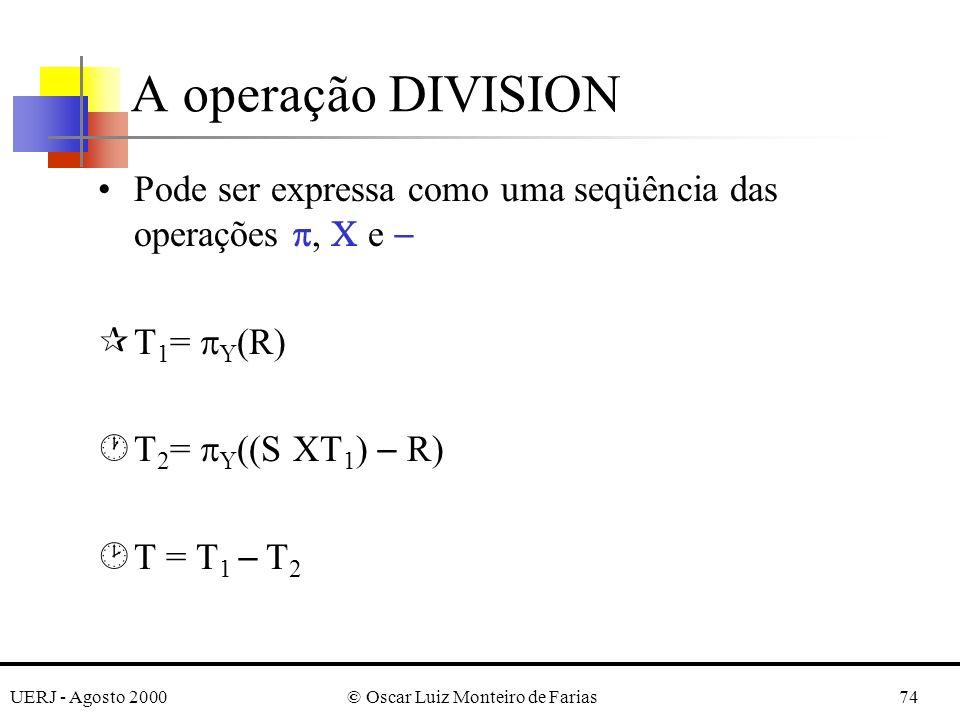 UERJ - Agosto 2000© Oscar Luiz Monteiro de Farias74 Pode ser expressa como uma seqüência das operações, e ¶T 1 = Y (R) ·T 2 = Y ((S T 1 ) R) ¸T = T 1