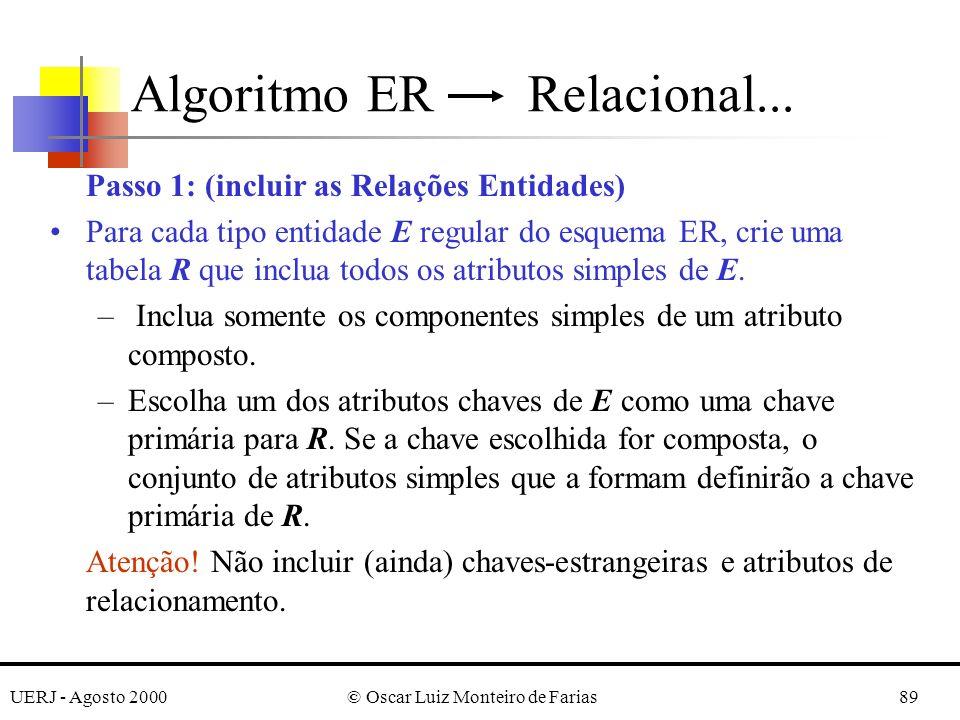 UERJ - Agosto 2000© Oscar Luiz Monteiro de Farias89 Algoritmo ER Relacional... Passo 1: (incluir as Relações Entidades) Para cada tipo entidade E regu