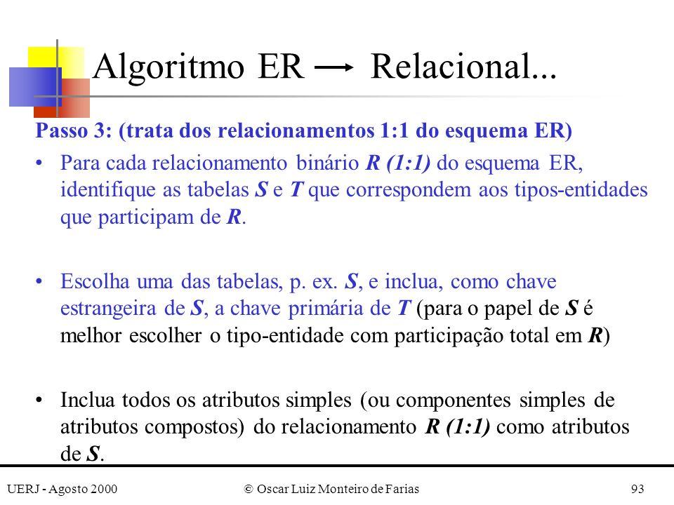 UERJ - Agosto 2000© Oscar Luiz Monteiro de Farias93 Passo 3: (trata dos relacionamentos 1:1 do esquema ER) Para cada relacionamento binário R (1:1) do