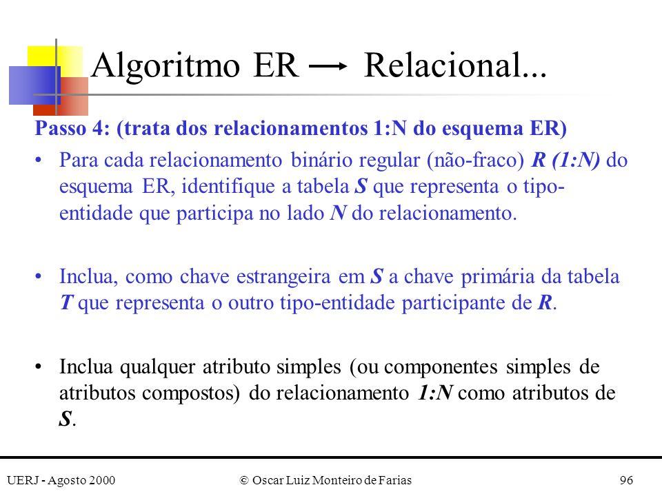 UERJ - Agosto 2000© Oscar Luiz Monteiro de Farias96 Passo 4: (trata dos relacionamentos 1:N do esquema ER) Para cada relacionamento binário regular (n