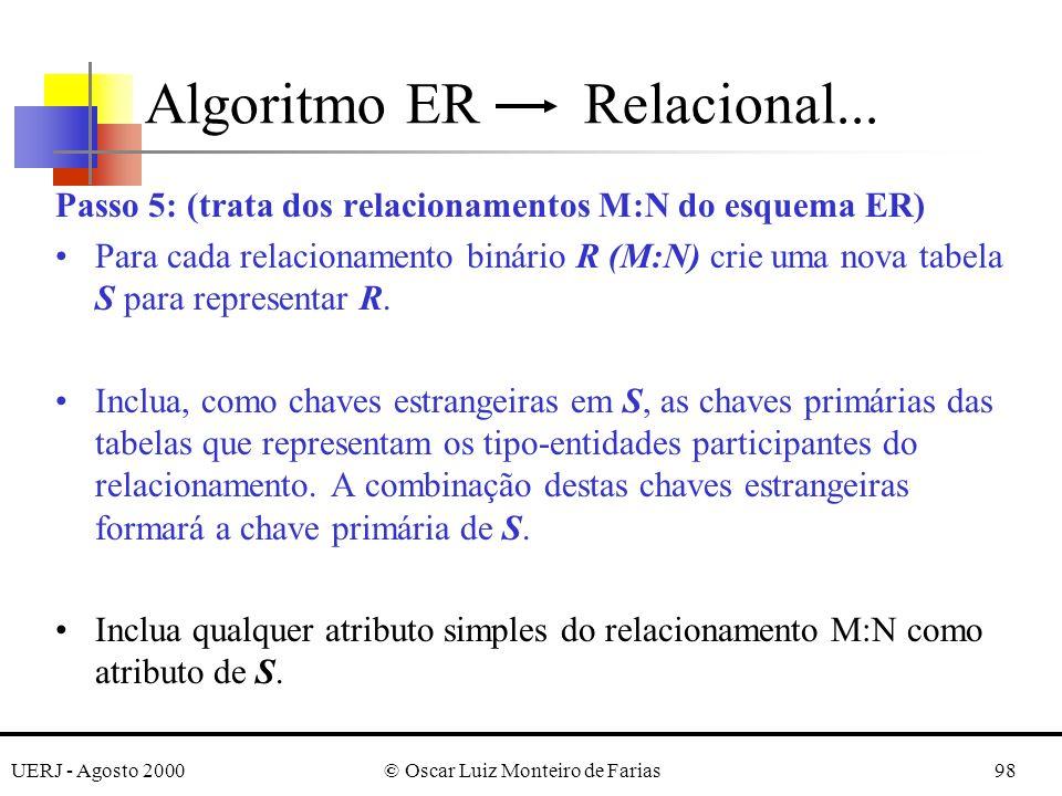 UERJ - Agosto 2000© Oscar Luiz Monteiro de Farias98 Passo 5: (trata dos relacionamentos M:N do esquema ER) Para cada relacionamento binário R (M:N) cr
