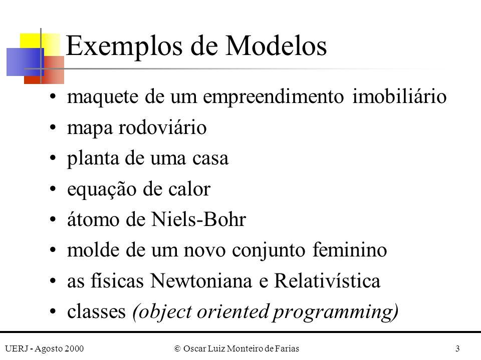 UERJ - Agosto 2000© Oscar Luiz Monteiro de Farias3 Exemplos de Modelos maquete de um empreendimento imobiliário mapa rodoviário planta de uma casa equação de calor átomo de Niels-Bohr molde de um novo conjunto feminino as físicas Newtoniana e Relativística classes (object oriented programming)