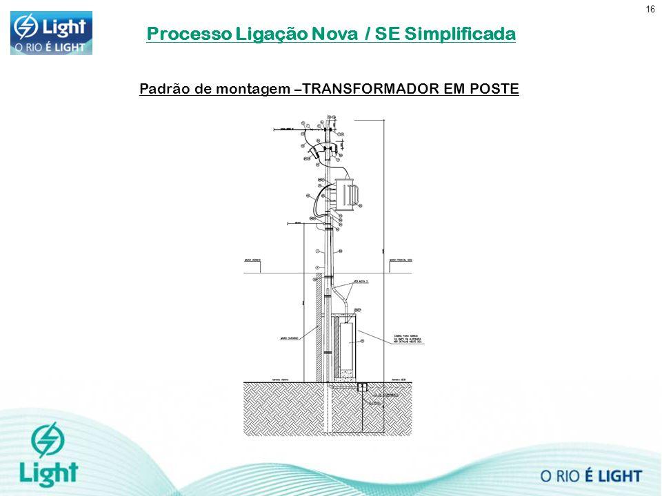 16 Padrão de montagem –TRANSFORMADOR EM POSTE Processo Ligação Nova / SE Simplificada