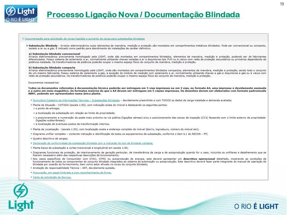 19 Processo Ligação Nova / Documentação Blindada