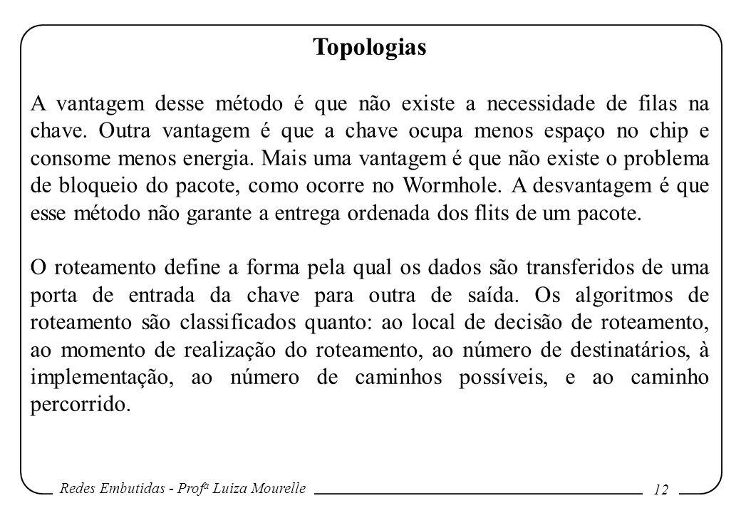 Redes Embutidas - Prof a Luiza Mourelle 12 Topologias A vantagem desse método é que não existe a necessidade de filas na chave.