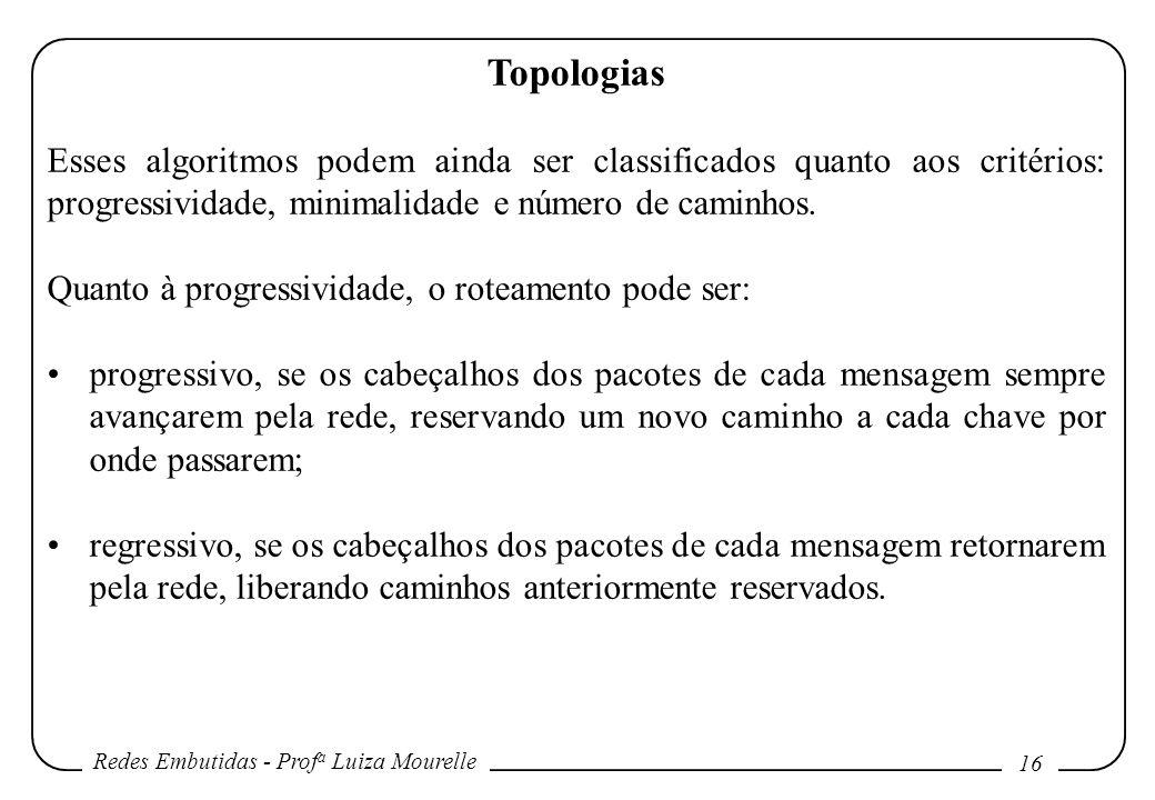 Redes Embutidas - Prof a Luiza Mourelle 16 Topologias Esses algoritmos podem ainda ser classificados quanto aos critérios: progressividade, minimalidade e número de caminhos.