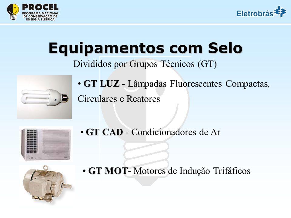 Equipamentos com Selo Divididos por Grupos Técnicos (GT) GT LUZ GT LUZ - Lâmpadas Fluorescentes Compactas, Circulares e Reatores GT CAD GT CAD - Condicionadores de Ar GT MOT GT MOT- Motores de Indução Trifáficos
