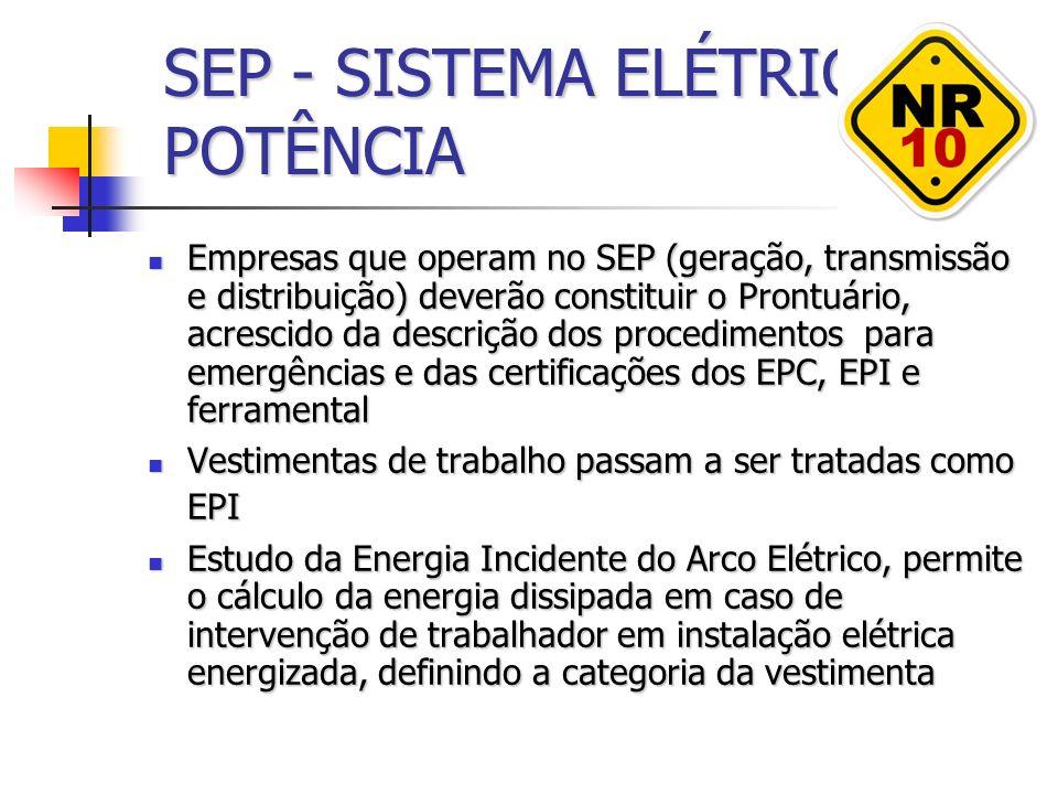 SEP - SISTEMA ELÉTRICO DE POTÊNCIA Empresas que operam no SEP (geração, transmissão e distribuição) deverão constituir o Prontuário, acrescido da desc
