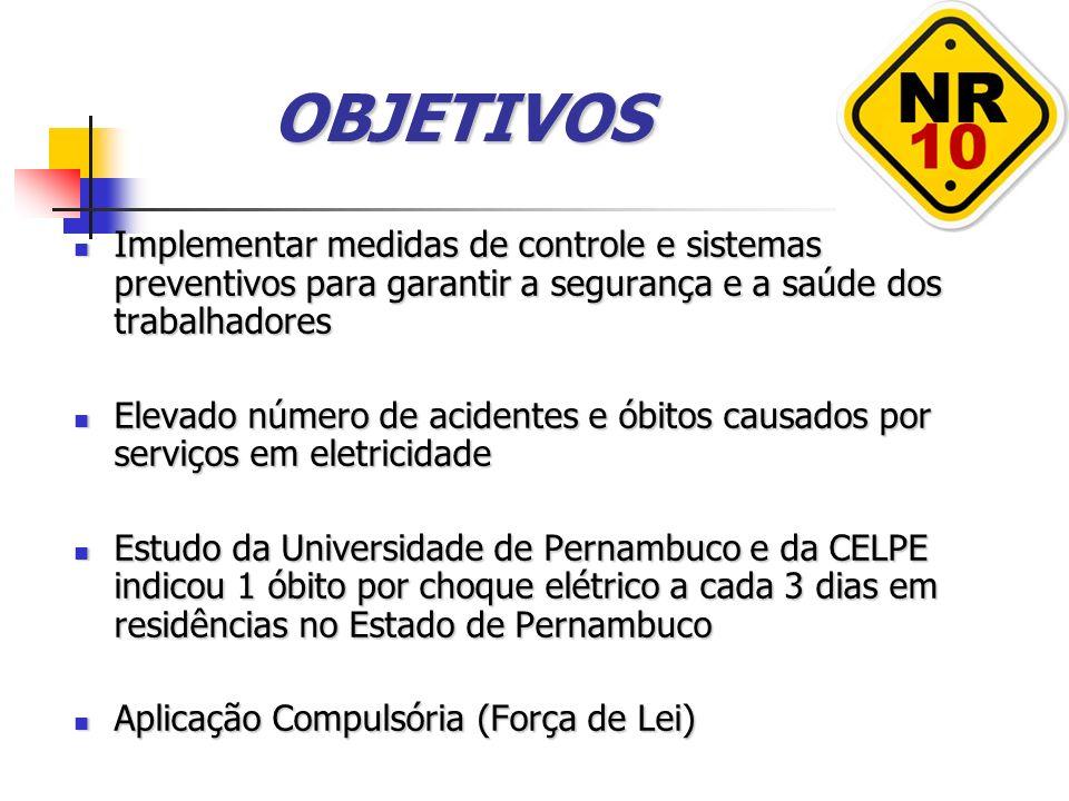 OBJETIVOS Implementar medidas de controle e sistemas preventivos para garantir a segurança e a saúde dos trabalhadores Implementar medidas de controle