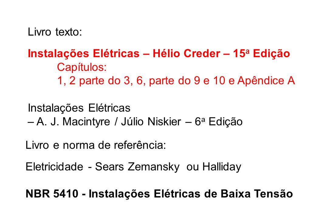 Livro texto: Instalações Elétricas – Hélio Creder – 15 a Edição Capítulos: 1, 2 parte do 3, 6, parte do 9 e 10 e Apêndice A Instalações Elétricas – A.