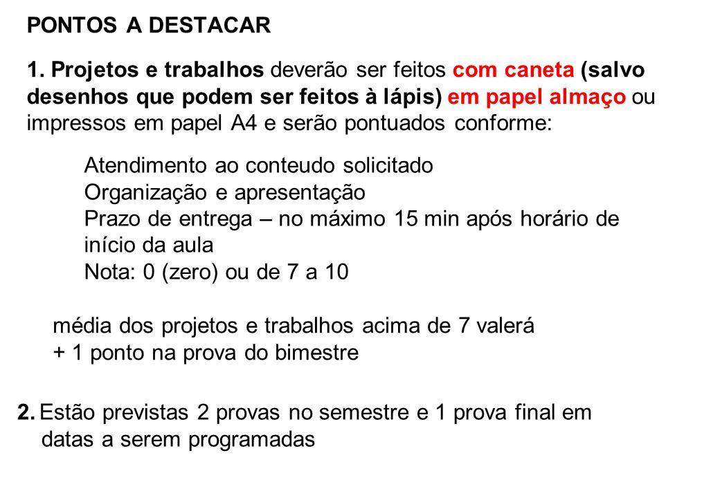 PONTOS A DESTACAR 1. Projetos e trabalhos deverão ser feitos com caneta (salvo desenhos que podem ser feitos à lápis) em papel almaço ou impressos em