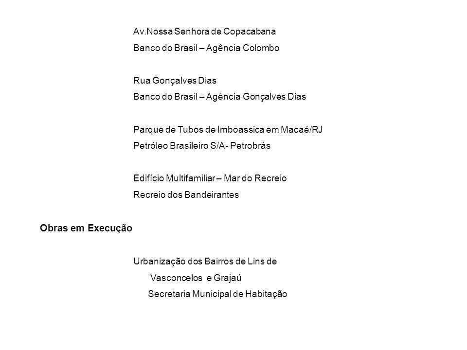 Av.Nossa Senhora de Copacabana Banco do Brasil – Agência Colombo Rua Gonçalves Dias Banco do Brasil – Agência Gonçalves Dias Parque de Tubos de Imboas