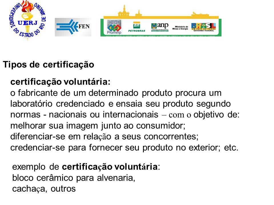 certificação voluntária: o fabricante de um determinado produto procura um laboratório credenciado e ensaia seu produto segundo normas - nacionais ou