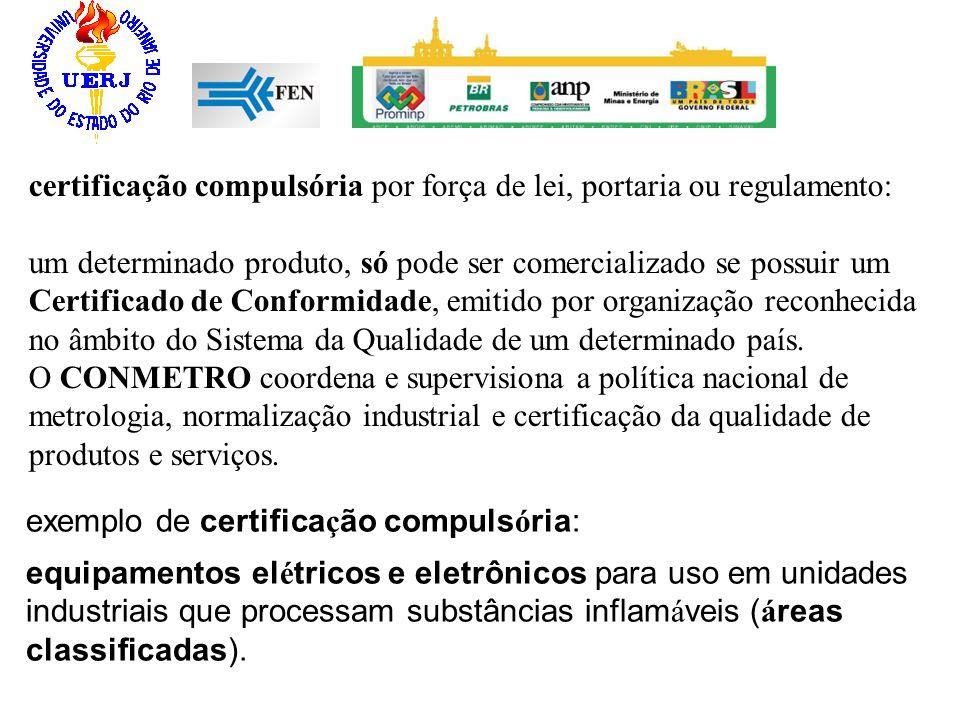 certificação compulsória por força de lei, portaria ou regulamento: um determinado produto, só pode ser comercializado se possuir um Certificado de Co