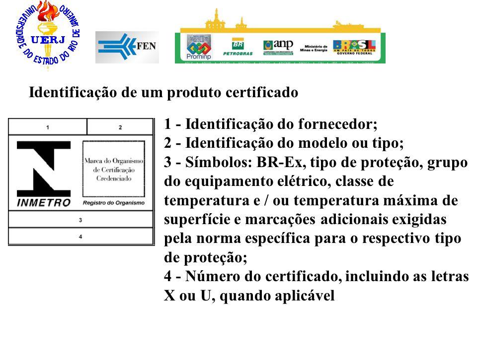 Identificação de um produto certificado 1 - Identificação do fornecedor; 2 - Identificação do modelo ou tipo; 3 - Símbolos: BR-Ex, tipo de proteção, g