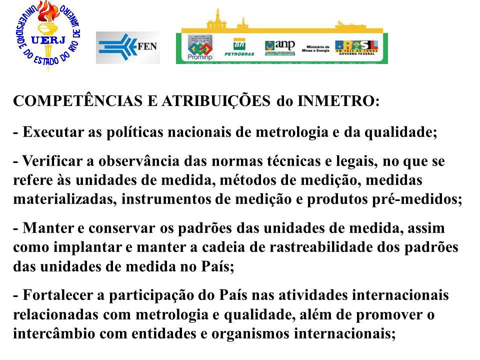COMPETÊNCIAS E ATRIBUIÇÕES do INMETRO: - Executar as políticas nacionais de metrologia e da qualidade; - Verificar a observância das normas técnicas e