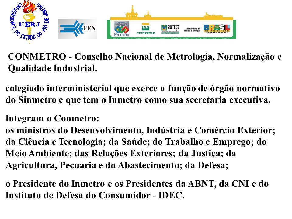CONMETRO - Conselho Nacional de Metrologia, Normalização e Qualidade Industrial. colegiado interministerial que exerce a função de órgão normativo do