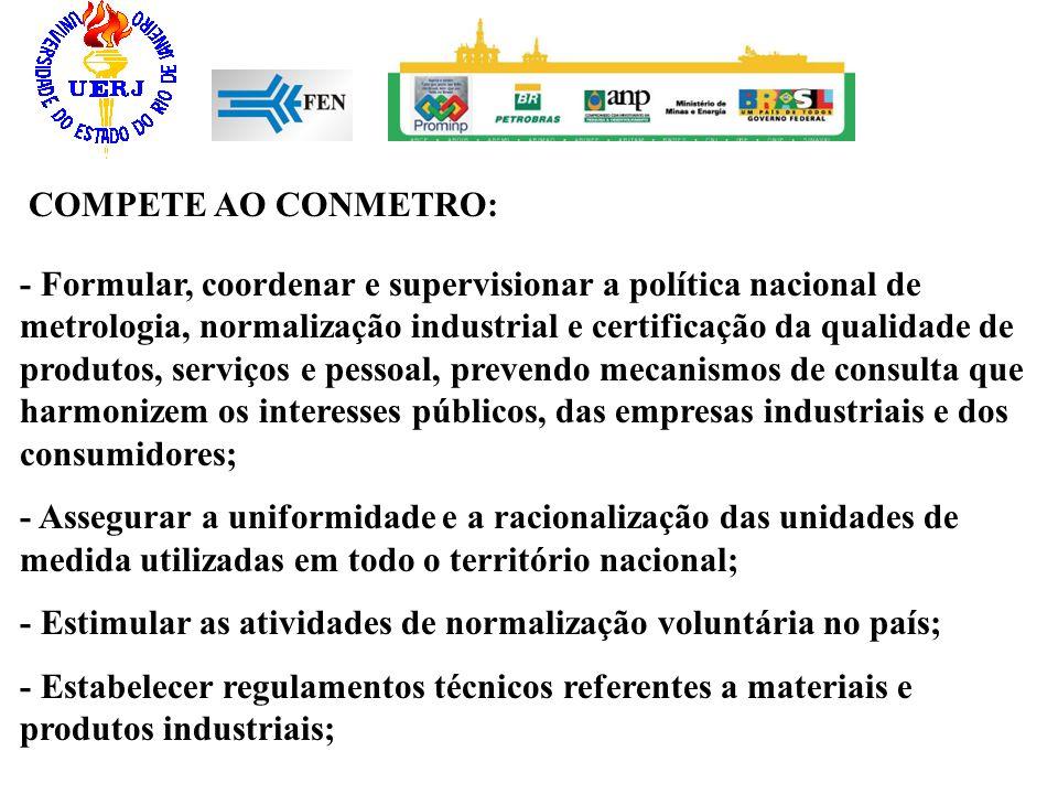 COMPETE AO CONMETRO: - Formular, coordenar e supervisionar a política nacional de metrologia, normalização industrial e certificação da qualidade de p