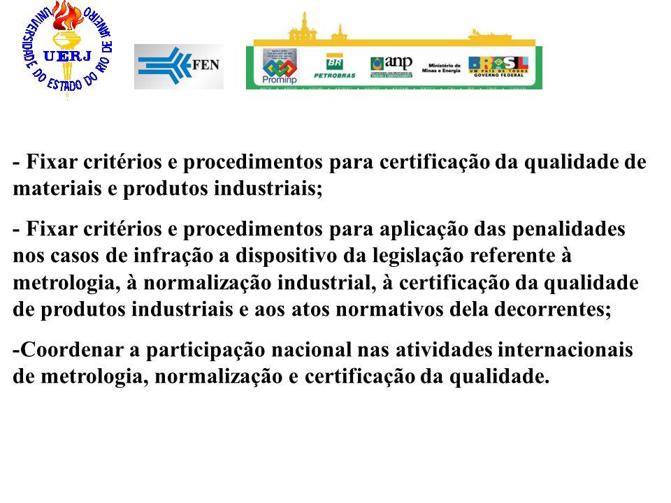 - Fixar critérios e procedimentos para certificação da qualidade de materiais e produtos industriais; - Fixar critérios e procedimentos para aplicação