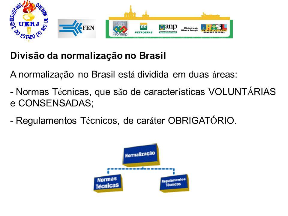 Divisão da normalização no Brasil A normaliza ç ão no Brasil est á dividida em duas á reas: - Normas T é cnicas, que s ã o de caracter í sticas VOLUNT