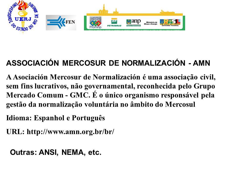 ASSOCIACIÓN MERCOSUR DE NORMALIZACIÓN - AMN A Asociación Mercosur de Normalización é uma associação civil, sem fins lucrativos, não governamental, rec