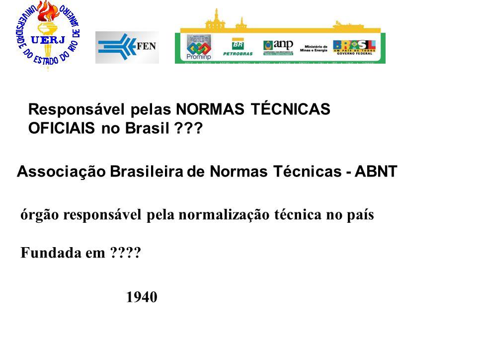 Associação Brasileira de Normas Técnicas - ABNT órgão responsável pela normalização técnica no país Fundada em ???? Responsável pelas NORMAS TÉCNICAS
