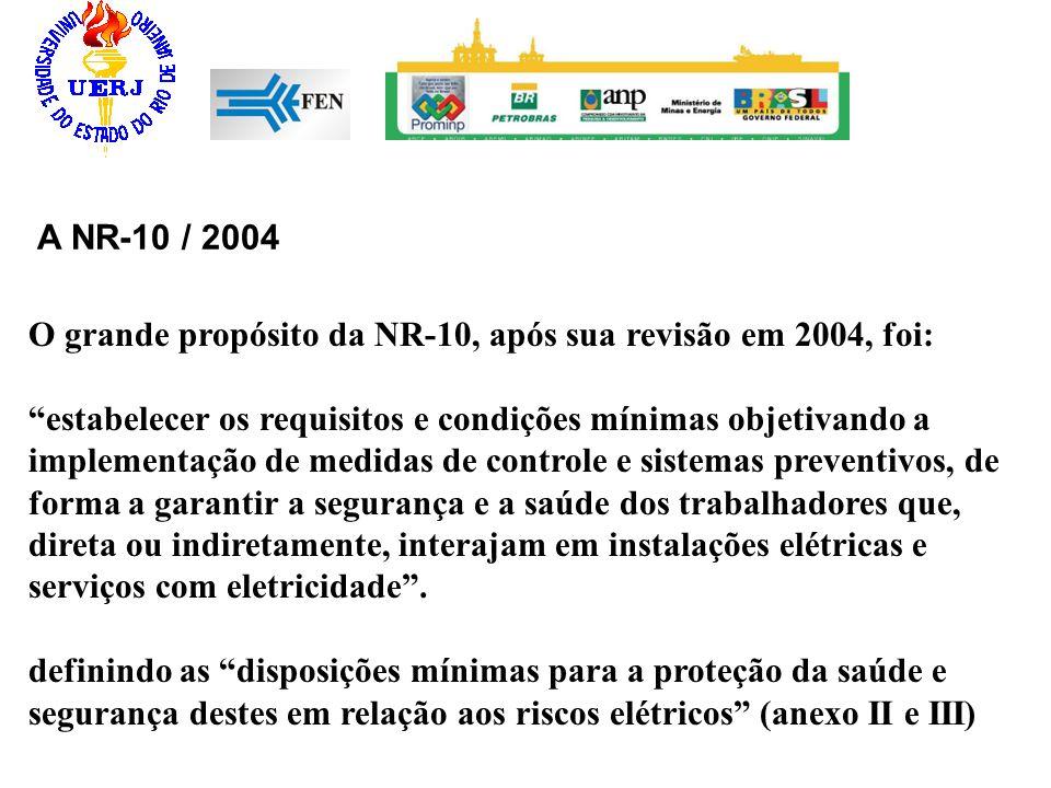 A NR-10 / 2004 O grande propósito da NR-10, após sua revisão em 2004, foi: estabelecer os requisitos e condições mínimas objetivando a implementação d