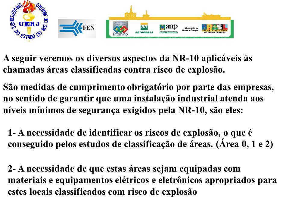 A seguir veremos os diversos aspectos da NR-10 aplicáveis às chamadas áreas classificadas contra risco de explosão. São medidas de cumprimento obrigat