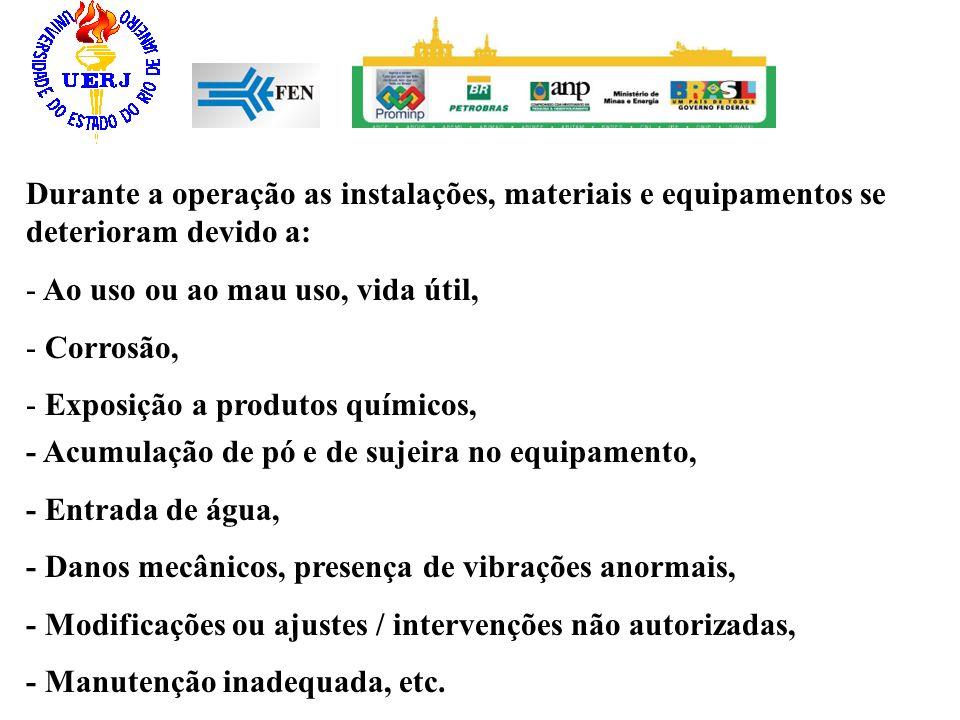 Durante a operação as instalações, materiais e equipamentos se deterioram devido a: - Ao uso ou ao mau uso, vida útil, - Corrosão, - Exposição a produ