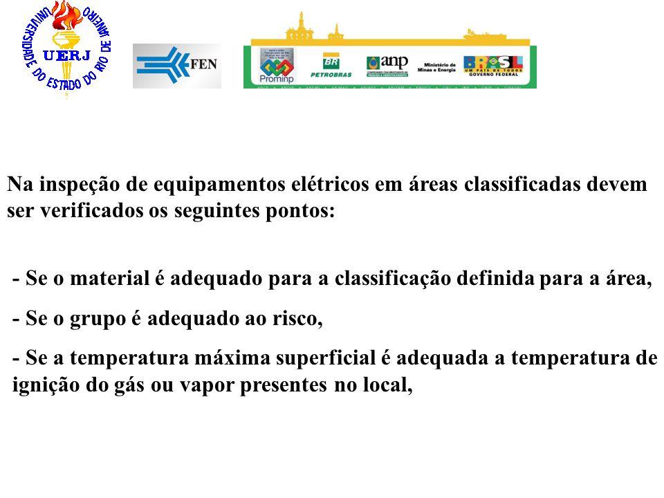 Na inspeção de equipamentos elétricos em áreas classificadas devem ser verificados os seguintes pontos: - Se o material é adequado para a classificaçã