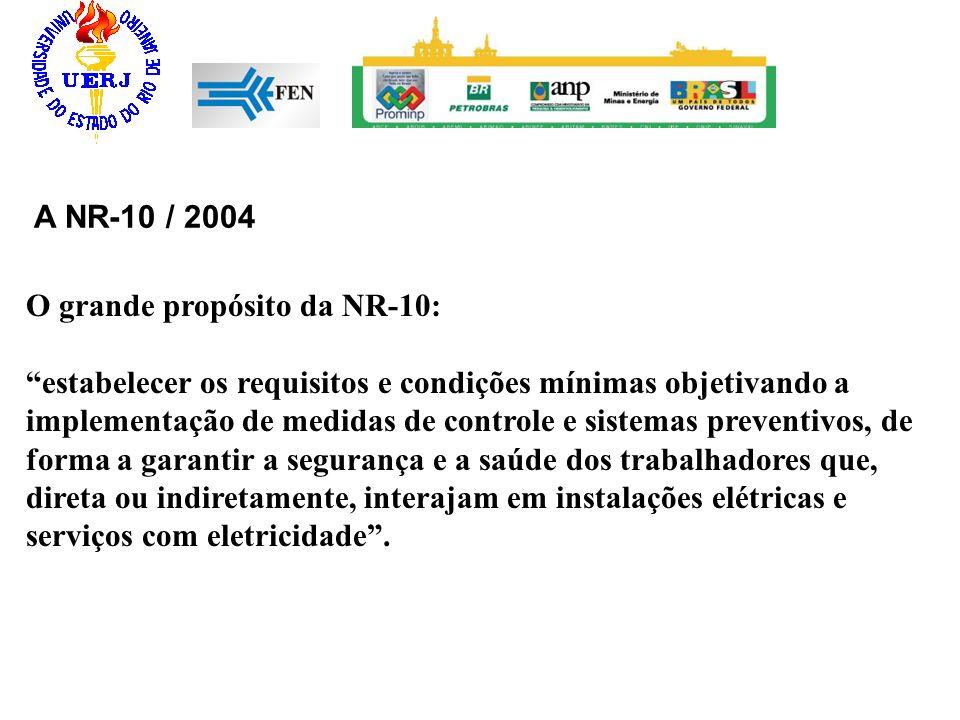 A NR-10 / 2004 O grande propósito da NR-10: estabelecer os requisitos e condições mínimas objetivando a implementação de medidas de controle e sistema